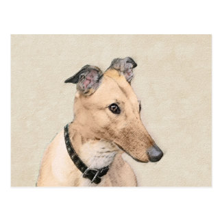 Greyhound Painting - Cute Original Dog Art Postcard