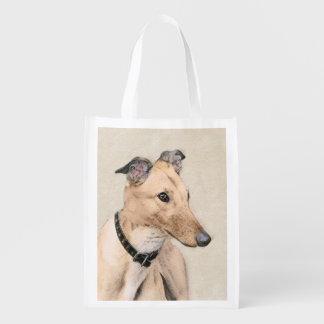 Greyhound Painting - Cute Original Dog Art Reusable Grocery Bag