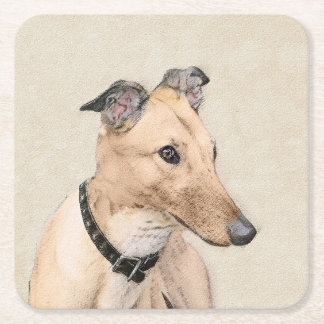 Greyhound Painting - Cute Original Dog Art Square Paper Coaster