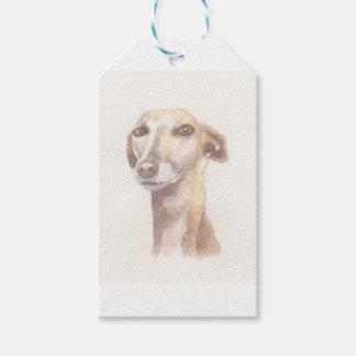 Greyhound portrait gift tags