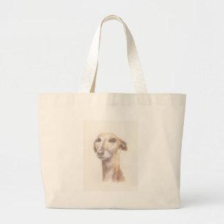 Greyhound portrait large tote bag