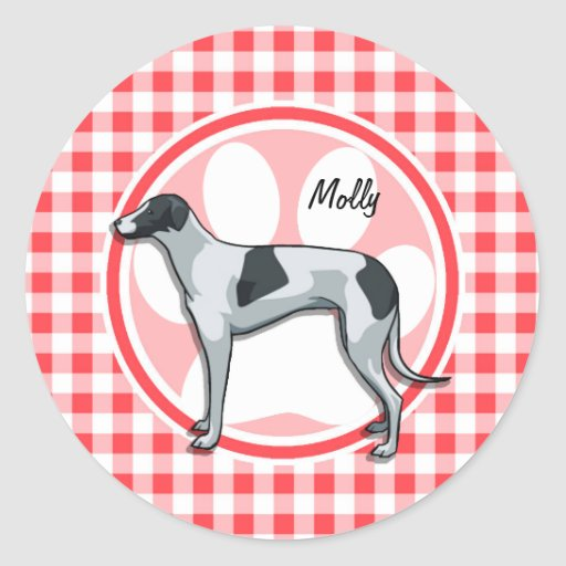 Greyhound; Red and White Gingham Round Stickers