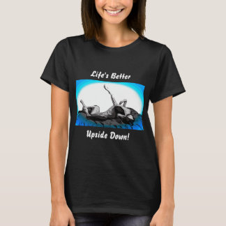 Greyhound  Roach Upside Down on Black T-Shirt