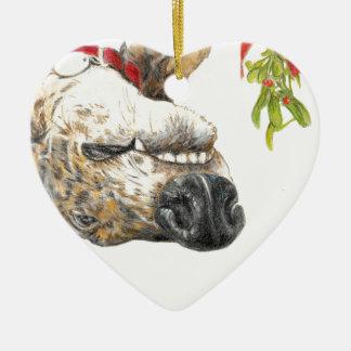 Greyhound roaching under the mistletoe ceramic ornament