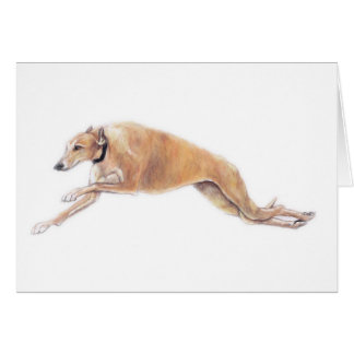 Greyhound Running Dog Art Greeting Card