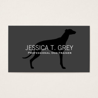 Greyhound Silhouette Black on Grey Business Card