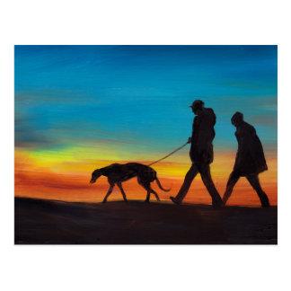 Greyhound Walk at Sunset Dog Art Postcard
