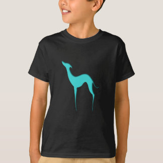 Greyhound/Whippet blue silhouette Kids' T-shirts