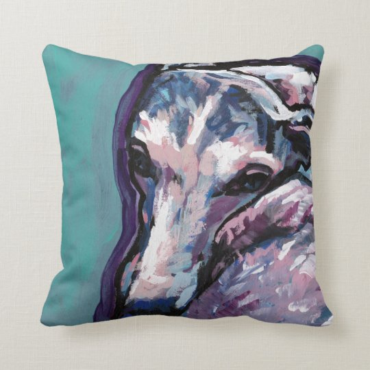 greyhound whippet dog pop art throw pillow
