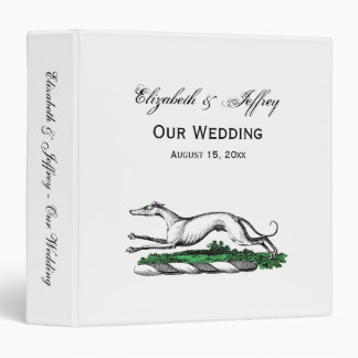 Greyhound Whippet Running Heraldic Crest Emblem 3 Ring Binder