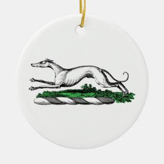Greyhound Whippet Running Heraldic Crest Emblem Ceramic Ornament