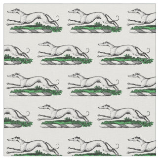 Greyhound Whippet Running Heraldic Crest Emblem Fabric