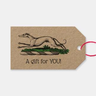 Greyhound Whippet Running Heraldic Crest Emblem Gift Tags