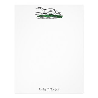 Greyhound Whippet Running Heraldic Crest Emblem Letterhead