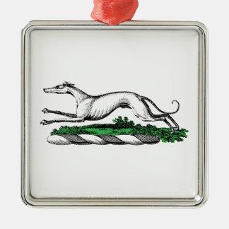 Greyhound Whippet Running Heraldic Crest Emblem Metal Ornament