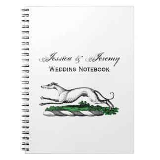 Greyhound Whippet Running Heraldic Crest Emblem Notebooks