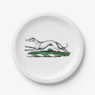 Greyhound Whippet Running Heraldic Crest Emblem Paper Plate
