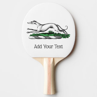 Greyhound Whippet Running Heraldic Crest Emblem Ping Pong Paddle