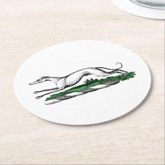 Greyhound Whippet Running Heraldic Crest Emblem Round Paper Coaster