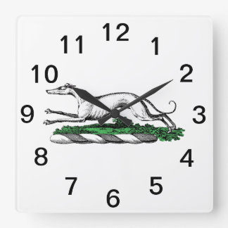 Greyhound Whippet Running Heraldic Crest Emblem Square Wall Clock