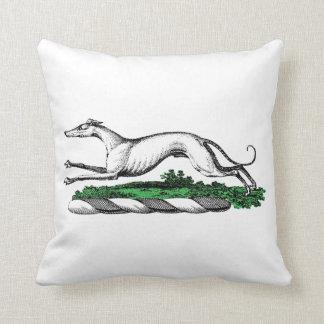 Greyhound Whippet Running Heraldic Crest Emblem Throw Pillow