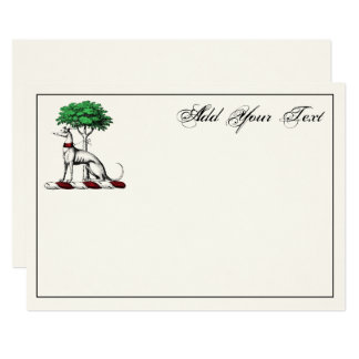 Greyhound Whippet Tree Heraldic Crest Note Card Iv