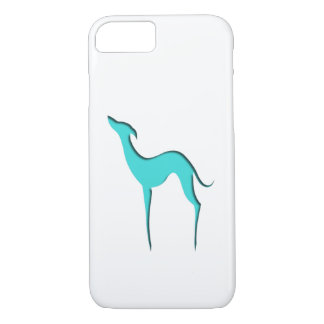 Greyhound/Whippet turquoise silhouette iPhone 7 iPhone 8/7 Case