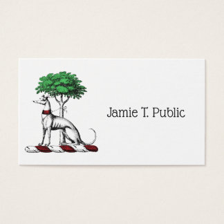Greyhound Whippet With Tree Heraldic Crest Emblem Business Card