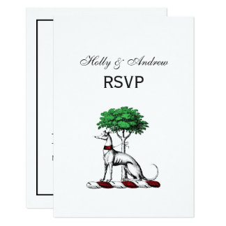 Greyhound Whippet With Tree Heraldic Crest Emblem Card