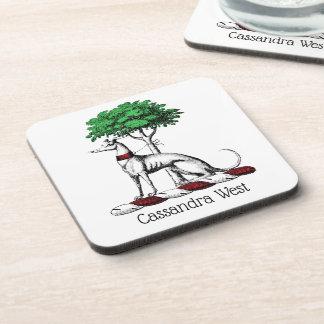 Greyhound Whippet With Tree Heraldic Crest Emblem Coaster