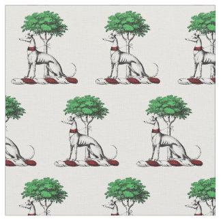 Greyhound Whippet With Tree Heraldic Crest Emblem Fabric