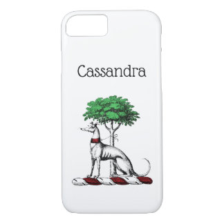 Greyhound Whippet With Tree Heraldic Crest Emblem iPhone 8/7 Case