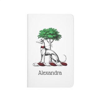 Greyhound Whippet With Tree Heraldic Crest Emblem Journal