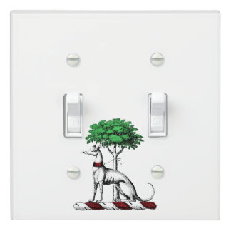 Greyhound Whippet With Tree Heraldic Crest Emblem Light Switch Cover