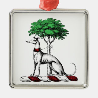Greyhound Whippet With Tree Heraldic Crest Emblem Metal Ornament