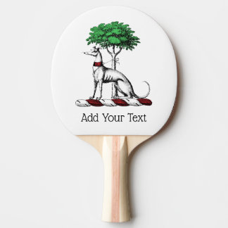 Greyhound Whippet With Tree Heraldic Crest Emblem Ping Pong Paddle