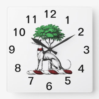 Greyhound Whippet With Tree Heraldic Crest Emblem Square Wall Clock
