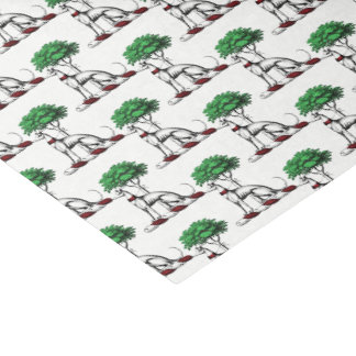 Greyhound Whippet With Tree Heraldic Crest Emblem Tissue Paper