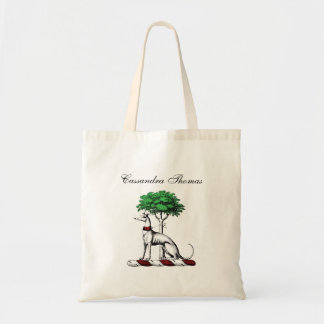 Greyhound Whippet With Tree Heraldic Crest Emblem Tote Bag