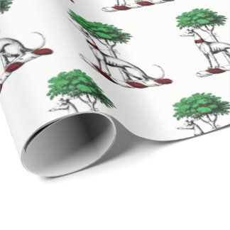 Greyhound Whippet With Tree Heraldic Crest Emblem Wrapping Paper