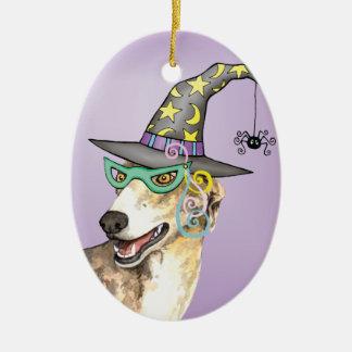 Greyhound Witch Ceramic Ornament