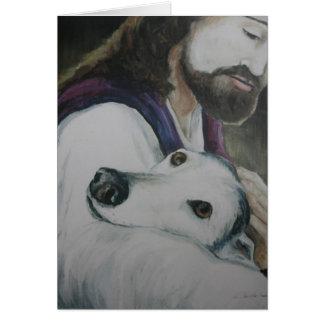 Greyhound with Jesus Dog Art Greeting Card
