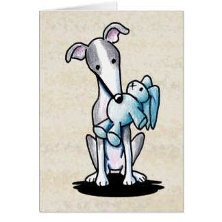 Greyhound With Rabbit Toy Card