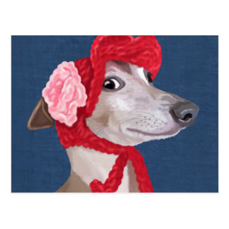 Greyhound with Red Woolly Hat Postcard