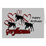 Greyhounds Red Hearts Dog Photo Birthday Card