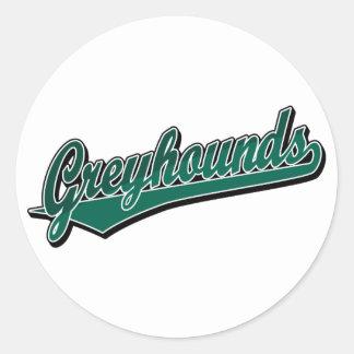 Greyhounds script logo in green 2 tone classic round sticker