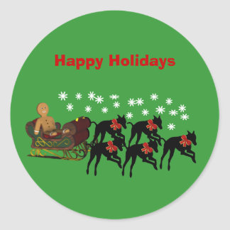 Greyhounds Sleigh Christmas Holiday Sticker Label