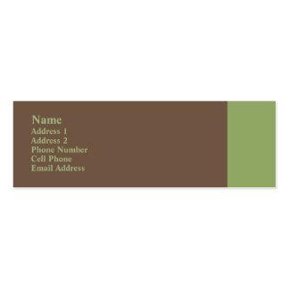 greyish brown  green plain mini business card