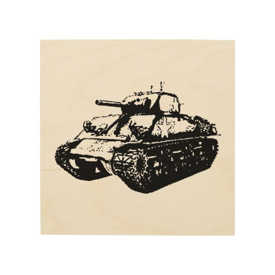 Greyscale Sherman Tank Illustration Wood Wall Art