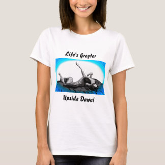 Greyt Greyhound Roach Upside Down on White T-Shirt
